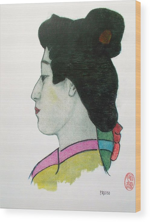 Original Wood Print featuring the painting Hotsuko by Roberto Prusso
