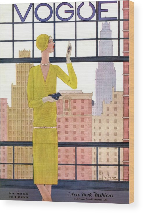 Cityscape Wood Print featuring the photograph A Vintage Vogue Magazine Cover Of A Woman by Georges Lepape