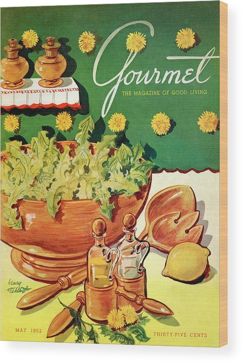 Food Wood Print featuring the photograph A Gourmet Cover Of Dandelion Salad by Henry Stahlhut