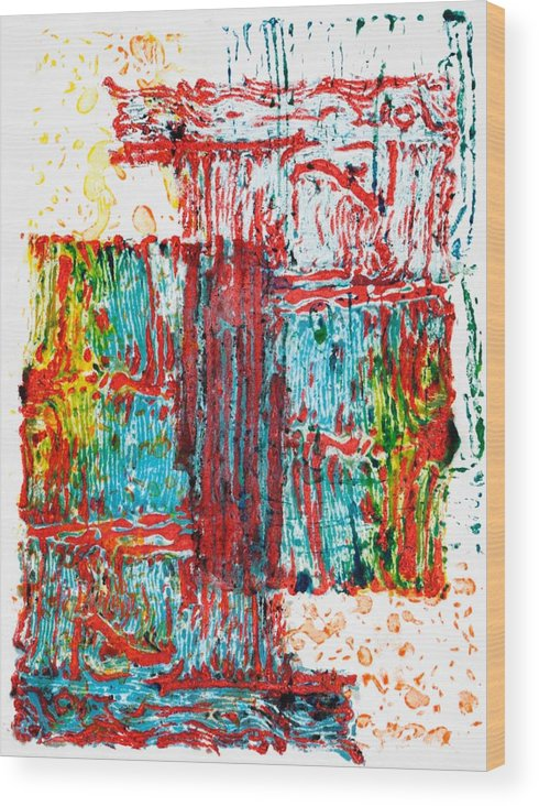 Abstract Wood Print featuring the mixed media Acoustic Shock I by Michelle L Bolin