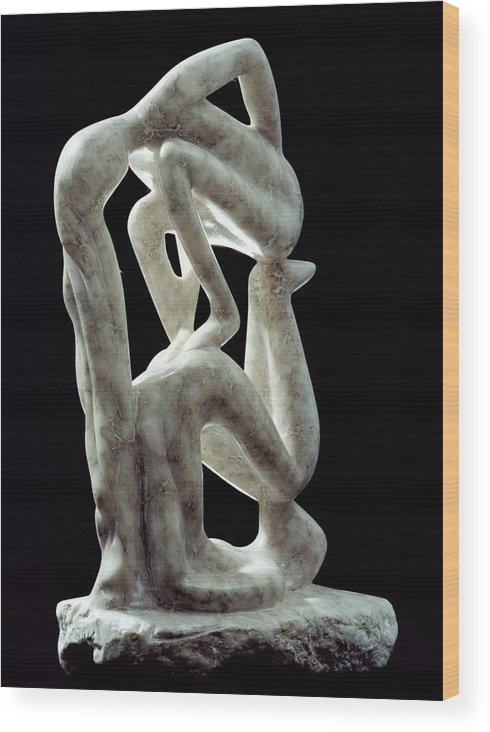 Abstract Wood Print featuring the sculpture Amnon And Tamar by Shimon Drory