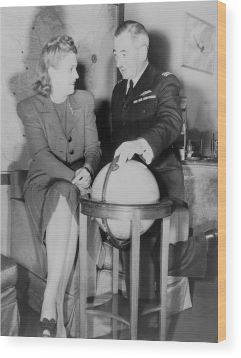 History Wood Print featuring the photograph Aviator Jacqueline Cochran With Capt by Everett