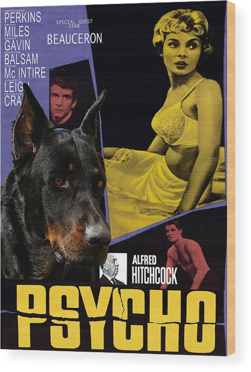 Beauceron Wood Print featuring the painting Beauceron Art Canvas Print - Psycho Movie Poster by Sandra Sij