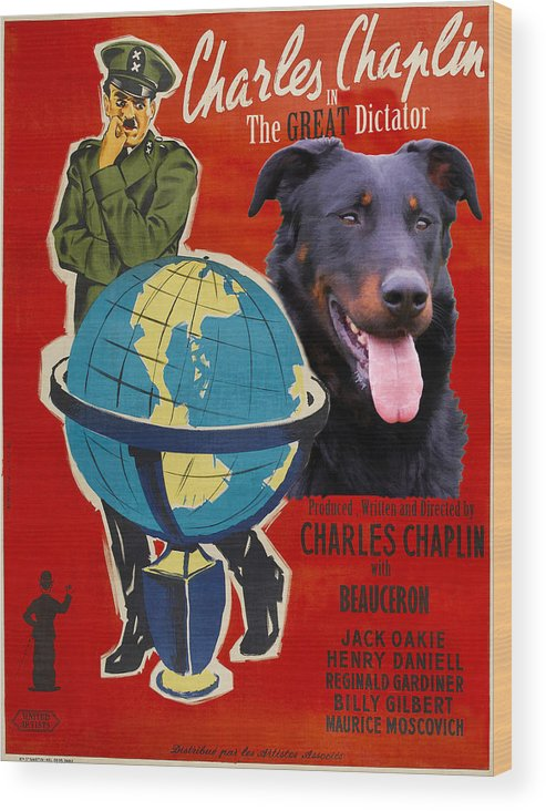 Beauceron Wood Print featuring the painting Beauceron Art Canvas Print - The Great Dictator Movie Poster by Sandra Sij