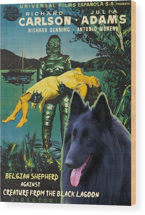 Belgian Shepherd Wood Print featuring the painting Belgian Shepherd Art Canvas Print - Creature From The Black Lagoon Movie Poster by Sandra Sij
