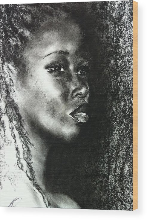People Wood Print featuring the drawing Black Girl by Louise Brown