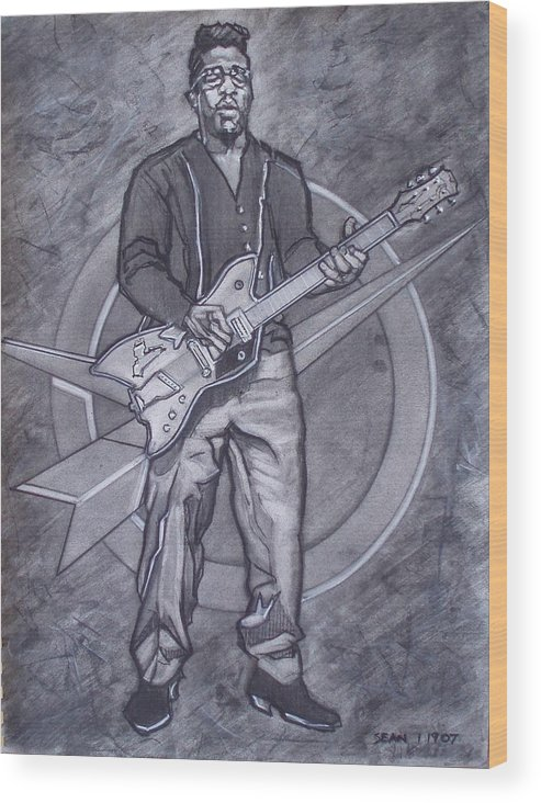 Texas;charcoal;king Of Rock;rock And Roll;music;1950s;blues;musician;funk;electric Guitar;marble;soul Wood Print featuring the drawing Bo Diddley - Have Guitar Will Travel by Sean Connolly