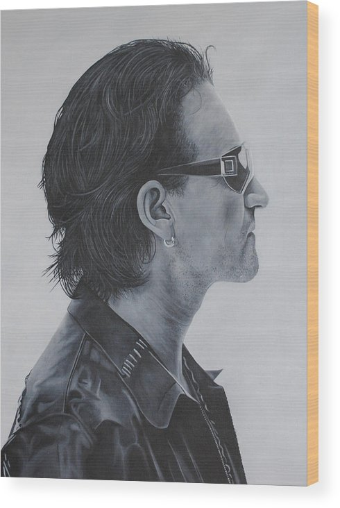 Bono Wood Print featuring the painting Bono by David Dunne