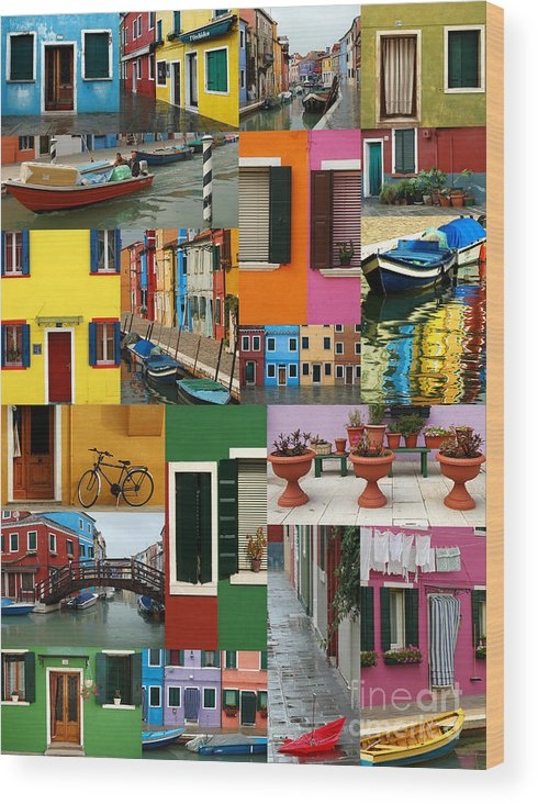 Burano Wood Print featuring the photograph Burano Italy Collage by Mike Nellums