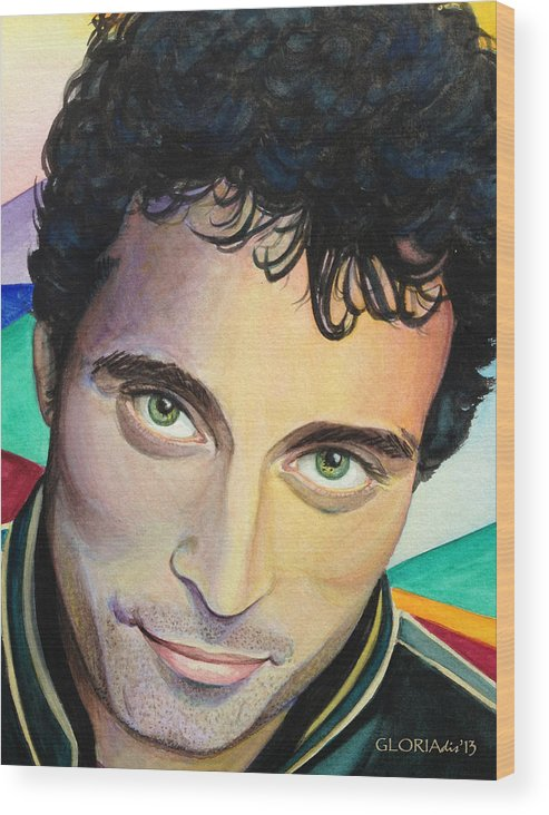 Close-up Portrait Wood Print featuring the painting Close Up Portrait Rufus Sewell by Gloria Di Simone