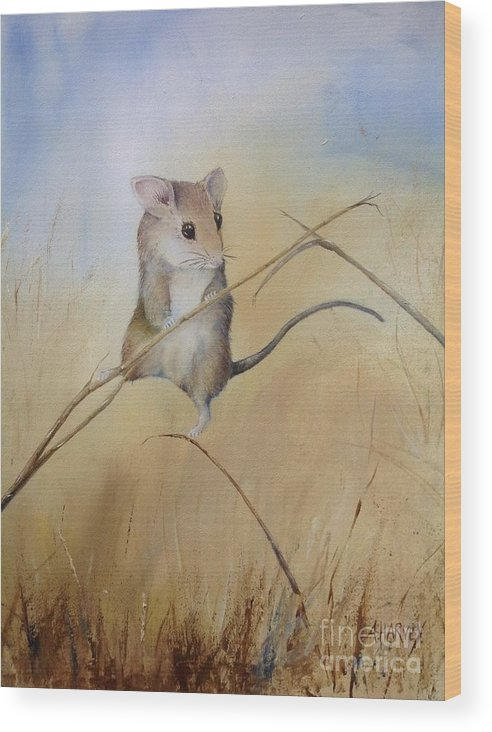 Mouse Wood Print featuring the painting Country Mouse by Alison Harvey