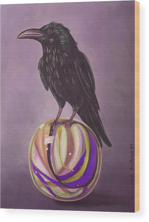 Crow Wood Print featuring the painting Crow On A Marble Edit 6 by Leah Saulnier The Painting Maniac