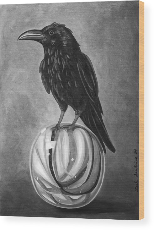 Crow Wood Print featuring the painting Crow On Marble Bw by Leah Saulnier The Painting Maniac