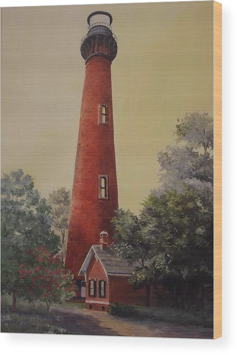 Lighthouse Wood Print featuring the painting Currituck Lighthouse by Wanda Dansereau