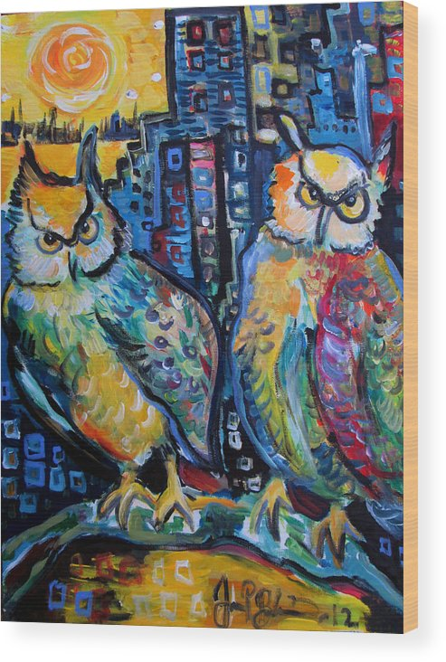 Owl Wood Print featuring the painting Cynical Hooters by Jon Baldwin Art