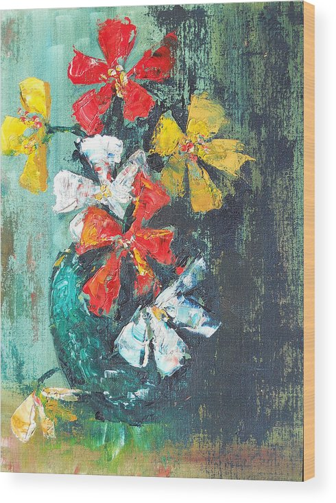Flowers Wood Print featuring the painting Daisies In A Green Vase by Olga Kaczmar