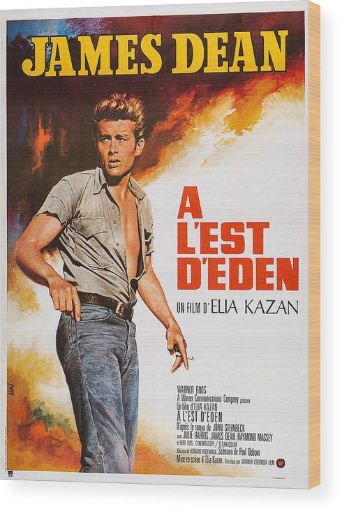 1950s Poster Art Wood Print featuring the photograph East Of Eden, French Poster Art, James by Everett