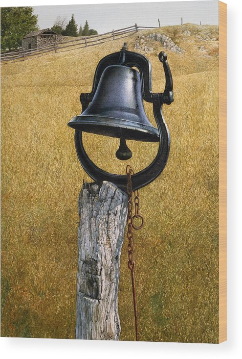 Landscape Wood Print featuring the painting Farm Bell by Tom Wooldridge