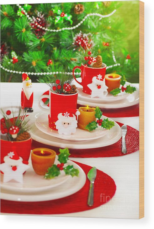 Adorn Wood Print featuring the photograph Festive Table Setting by Anna Om