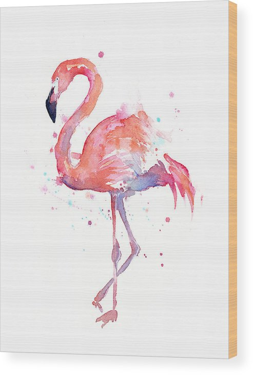 Bird Wood Print featuring the painting Flamingo Watercolor by Olga Shvartsur