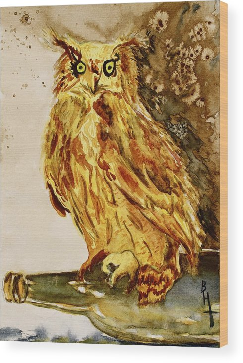 Goldene Bier Eule Wood Print featuring the painting Goldene Bier Eule by Beverley Harper Tinsley