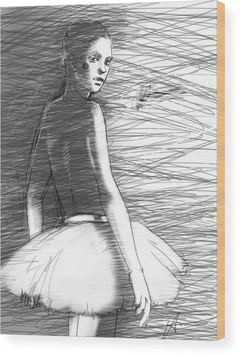 Ballet Wood Print featuring the drawing Her by H James Hoff