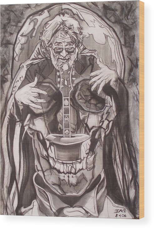 Charcoal; Skull;guitar;music;magic;mystic;wizard;cape;hat;shades;grateful Dead;deadheads Wood Print featuring the drawing Jerry Garcia . . Magic Is What We Do - Music Is How We Do It by Sean Connolly