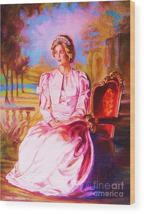 Princess Diana Wood Print featuring the painting Lady Diana Our Princess by Carole Spandau
