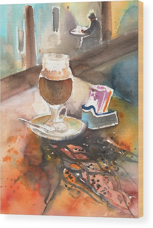 Latte Macchiato Wood Print featuring the painting Latte Macchiato In Italy 02 by Miki De Goodaboom