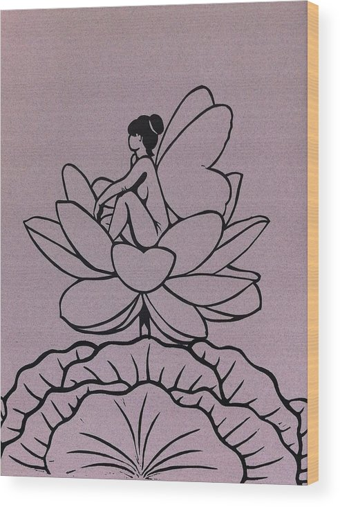 Fairy Wood Print featuring the relief Lotus Fairy by Mary Clare Castor