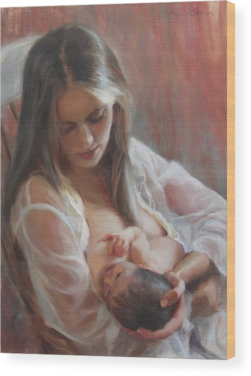 Figure Painting Wood Print featuring the painting Lullaby by Anna Rose Bain
