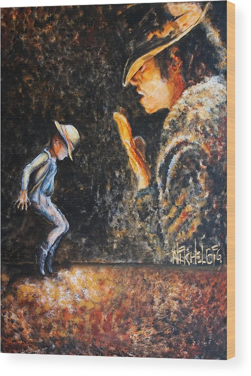 Michael Jackson Wood Print featuring the painting Man In The Mirror by Nik Helbig