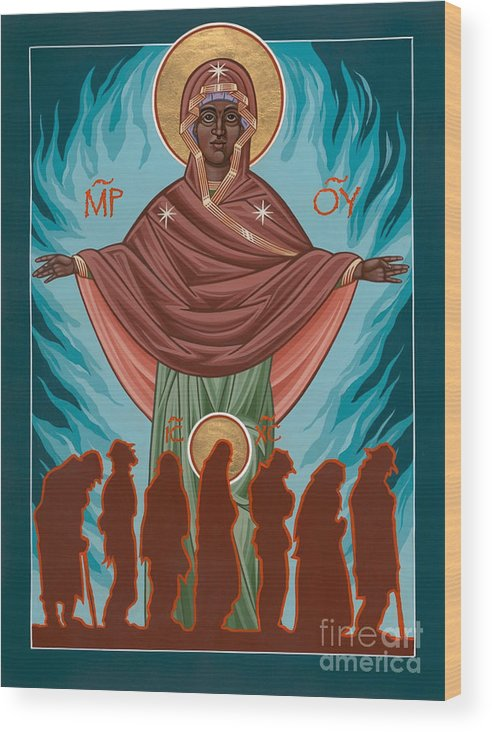 Andrew Harvey Wood Print featuring the painting Mother Of Sacred Activism With Eichenberg's Christ Of The Breadline by William Hart McNichols