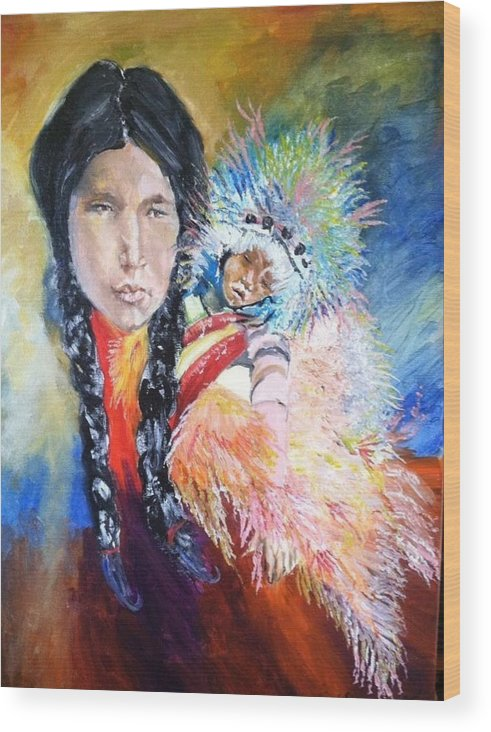 Native Wood Print featuring the painting Native American And Child by Melissa Feinberg