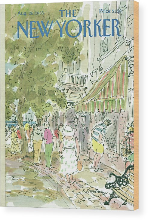 Rural Wood Print featuring the painting New Yorker August 26th, 1985 by James Stevenson