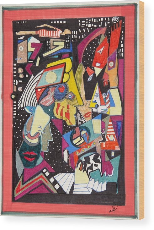 Abstract Wood Print featuring the drawing Night Life by Dennis Davis