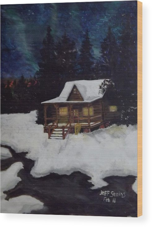 Landscape Wood Print featuring the painting Northern Paradise by Jeff Stains