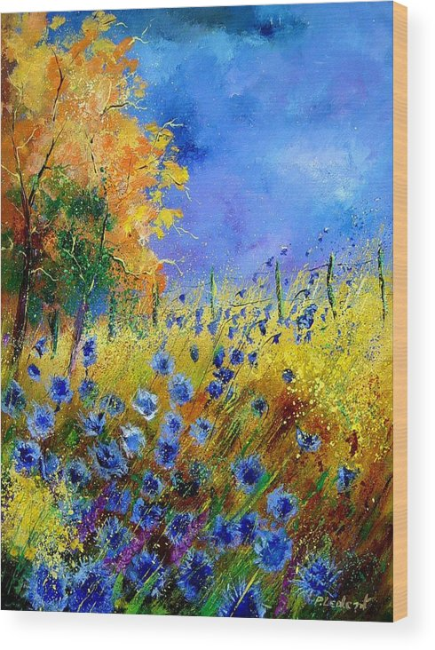 Poppies Wood Print featuring the painting Orange Tree And Blue Cornflowers by Pol Ledent