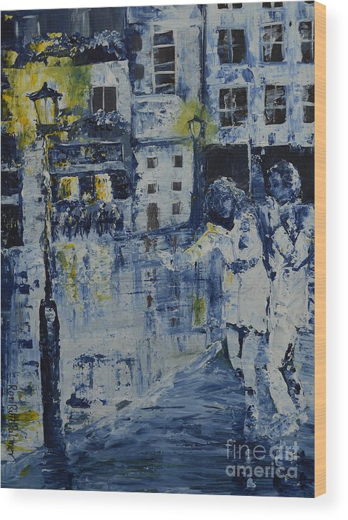 Urban Wood Print featuring the painting Out In The City by Roni Ruth Palmer