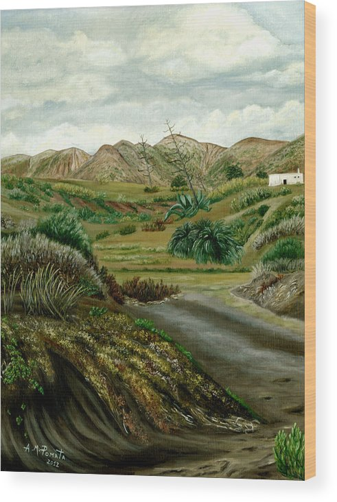Pitas Wood Print featuring the painting Pitas' Path by Angeles M Pomata