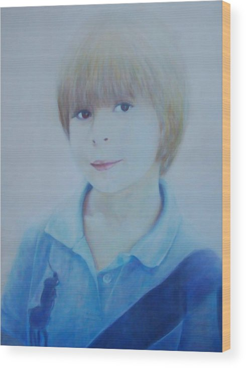 Portrait Of Young Boy Wood Print featuring the painting Portrait Of A Young Boy by Isabelle Ehly
