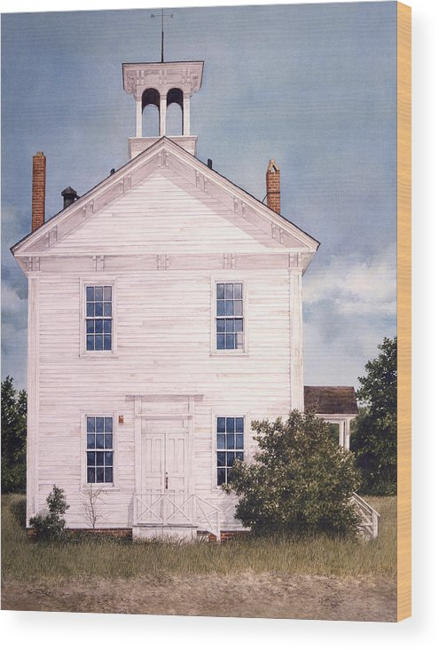 Landscape Wood Print featuring the painting Schoolhouse by Tom Wooldridge