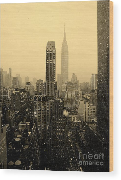 New York City Wood Print featuring the photograph Snowy New York Skyline by Betsy Foster Breen