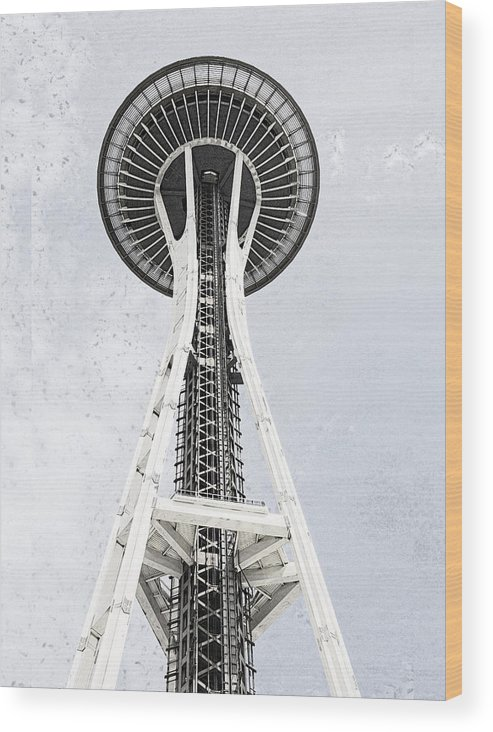 Seattle Washingtion Wood Print featuring the digital art Space Needle Seattle by Susan Stone