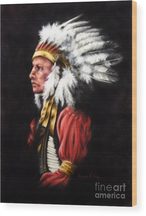 Native American Wood Print featuring the pastel The Chief 2 by Karen Elkan