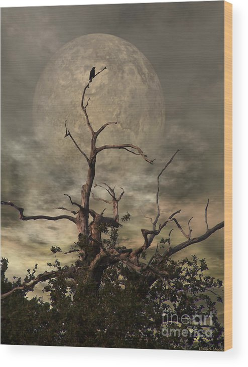 Crow Wood Print featuring the digital art The Crow Tree by Abbie Shores