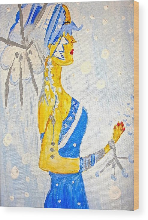 Winter Wood Print featuring the painting The Goddess Of Winter by Marian Griffin