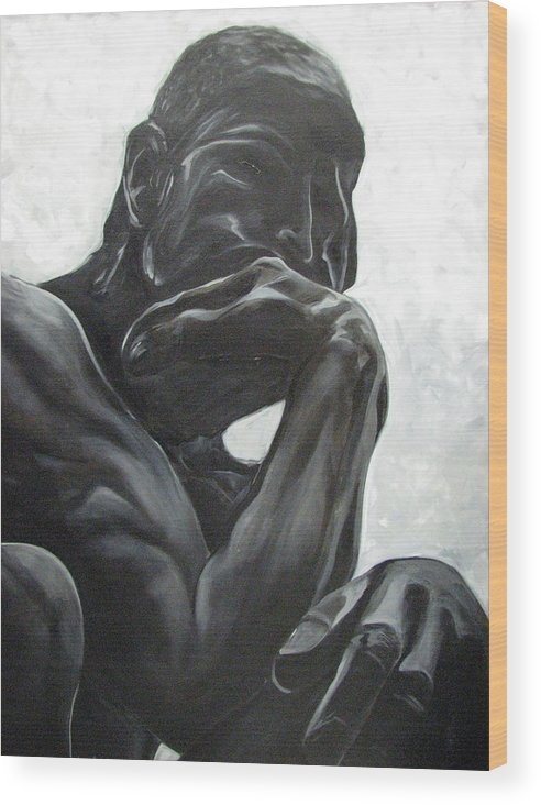 Black And White Paintings Wood Print featuring the painting The Thinker by Aimee Vance