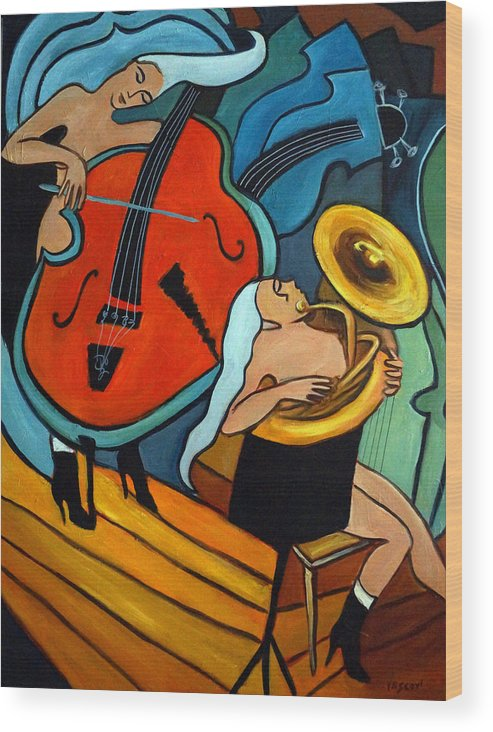 Musician Abstract Wood Print featuring the painting The Tuba Player by Valerie Vescovi