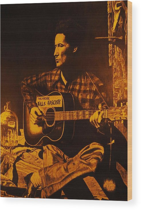 Woody Guthrie Wood Print featuring the drawing This Machine Kills Fascists by Charles Rogers